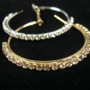 Gifts 4 All Hoop Earring Crystal Silver or Gold tone