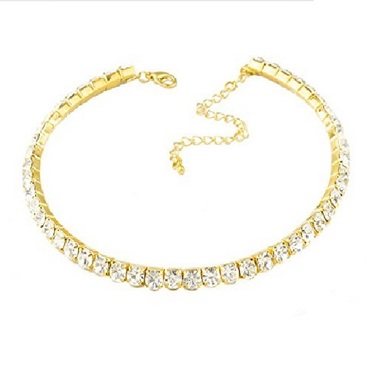 Gifts 4 All Single Row crystal Choker Necklace - Gold only