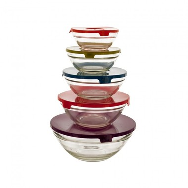 Gifts 4 All - Set of 5 Small Glass Lunch Bowls with 5 Lids.