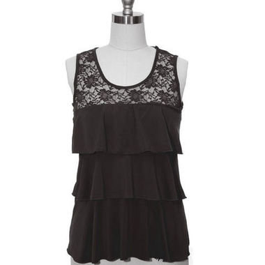 Gifts 4 All - Ruffle and Lace Black Knit Top