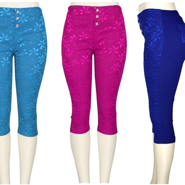 Gifts 4 All - Lace Covered Capri Pant w/ 4 Pockets
