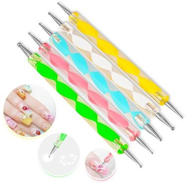 Gifts 4 All - Nail Art 2 Way Marbleizing Dotting Pen 5pc (5x2)
