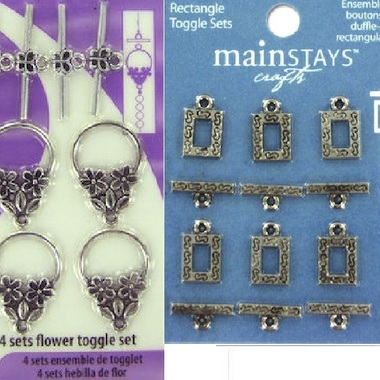 Gifts 4 All 6pc Ornate Square or 4pc Flower Toggle and Clasp Sets