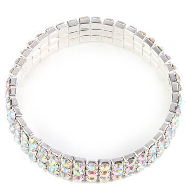 "Gifts 4 All, Beautiful Bracelet having 3 rows of aurora crystals. Stretch elastic bracelet. It is 2 1/8"" Diameter 3/8"" high. Nickel and Lead compliant."