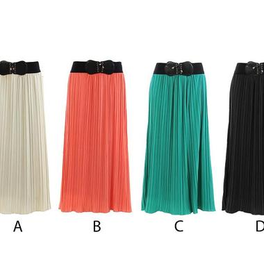 Gifts 4 All - Solid Crincle Long Skirt Your choice of color