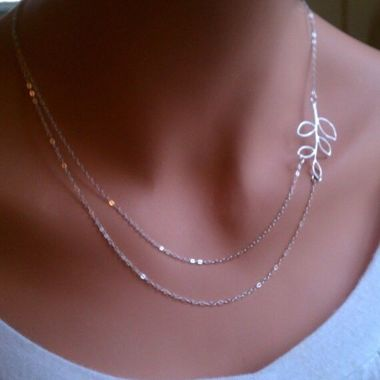 Gifts 4 All Beautiful Silver Tone Double chain leaf necklace
