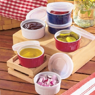 Gifts 4 All - Your choice Microwavable 4pc (2 Ramekins and 2 Lids) Stone Rameking and Lid set