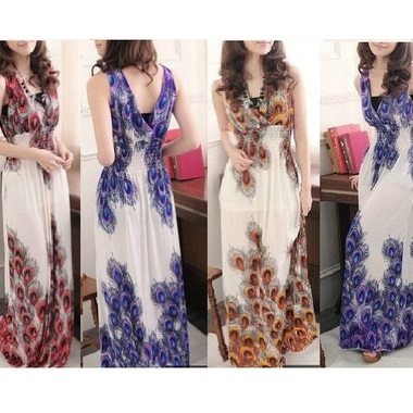 Gifts 4 All - White Peacock print Maxi dress Your choice of Color