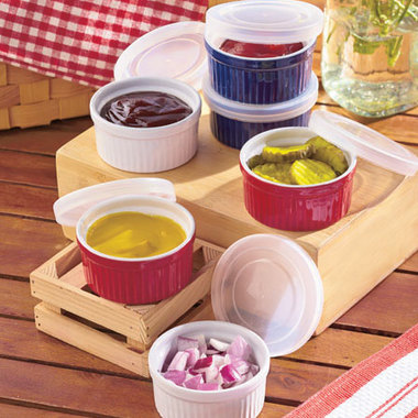 Gifts 4 All, You will receive 2 Ramekins and 2 Lids of your choice of color from Red, Green or Yellow.