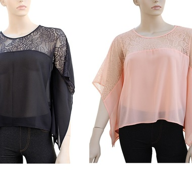 Gifts 4 All - Your Choice Rose design lace poncho top