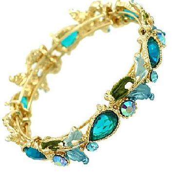 Gifts 4 All - Crystal Bracelet Gold Tone with Florals