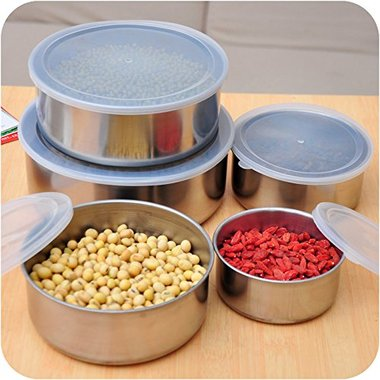 Gifts 4 All, Seal in freshness with this set of 10 durable Nesting Metal Food Storage Containers. Variously sized metal containers with clear snap-on plastic lids nest together for space-saving storage. Includes one 8-ounce, one 12-ounce, one 16-ounce, one 18-ounce and one 32-ounce container. Refrigerator, freezer and dishwasher safe. Comes packaged in an individual box.