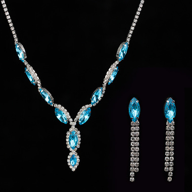 Gifts 4 All - Wedding Jewelry Crystal Necklace Blue choker with matching Earring
