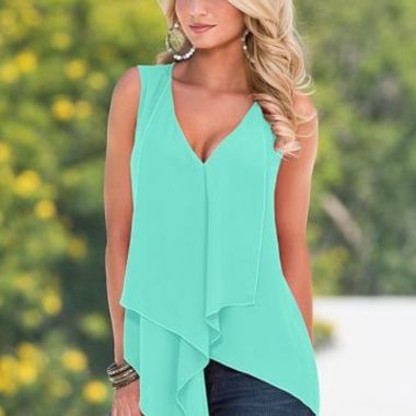 Gifts 4 All - Asymmetrical Ruffle Top Your Choice of Color