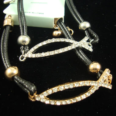 Gifts 4 All - Religious Bracelet faux leather Cord Crystal