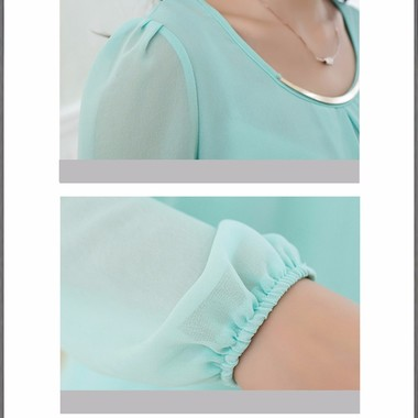 Gifts 4 All, Beautiful top having box pleat at neckline with a golden piece attached. Long sleeves have elastic cuff. 