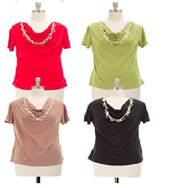Gifts 4 All - Cowl Neck top with Jewelry Regular Sizes