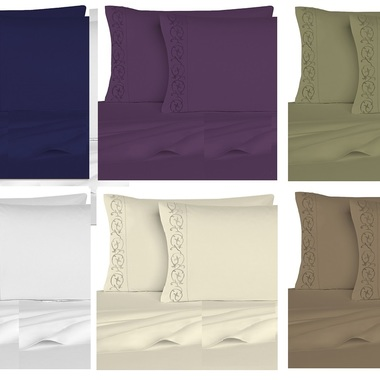 Gifts 4 All, 1800 series, 4 Piece Sheet Set includes 1 flat sheet, 1 deep pocket fitted sheet with wrap around elastic, and 2 pillow cases