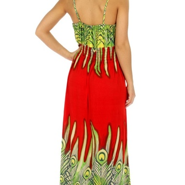 Gifts 4 All, This beautiful Peacock maxi dress is available in Lime/Red color. It has halter top and shoulder strap. Available in 4XL, and 5XL Sizes. 